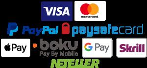 Visa, MasterCard, Delta, Paypal, Neteller, Skrill (MoneyBookers), Paysafe